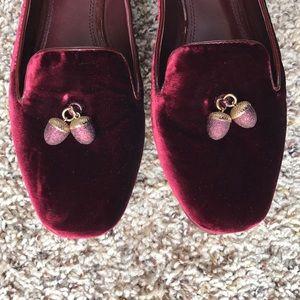 dd1ca608d7bf3b Tory Burch Shoes - Tory Burch Acorn Charm Velvet Smoking Slipper 8.5